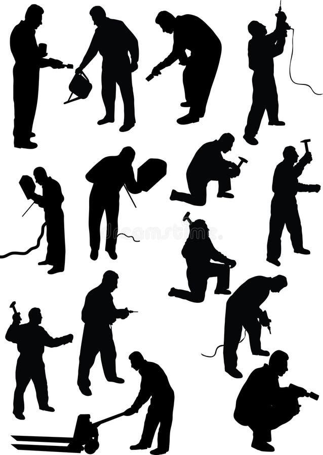 silhouettearbetare stock illustrationer