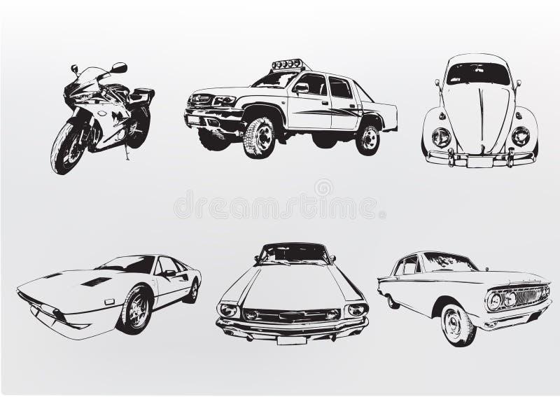 Silhouettebilar. stock illustrationer