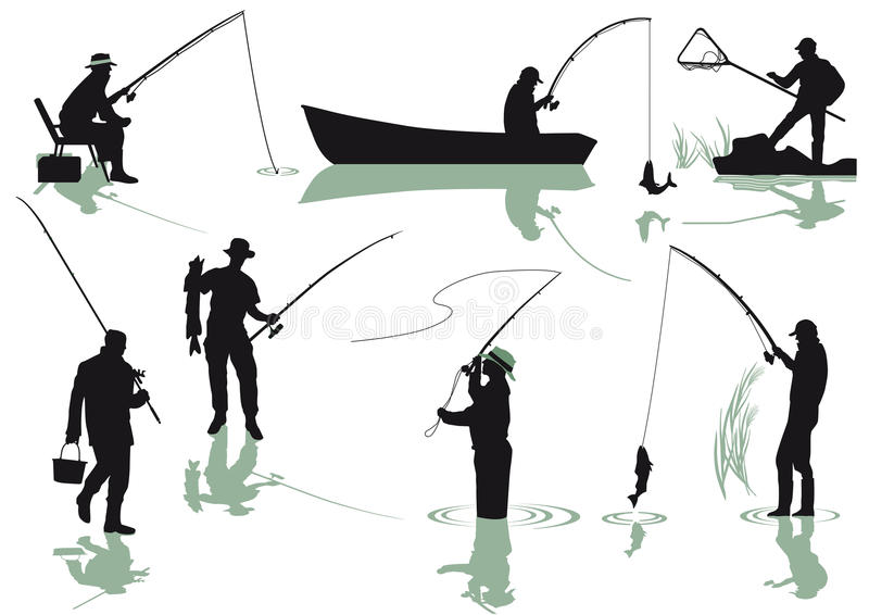 Silhouetted anglers. Silhouetted set of anglers fishing on a white studio background vector illustration