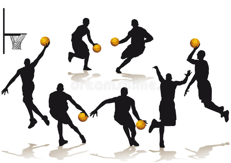 Silhouetted basketball players. Set of silhouetted basketball players in different poses on a white background royalty free illustration