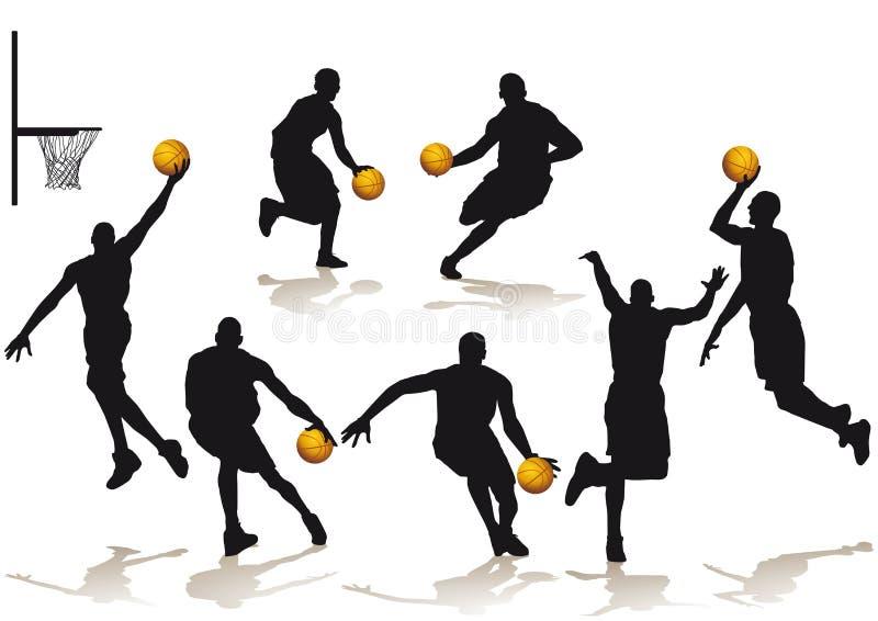 Silhouetted basketspelare royaltyfri illustrationer