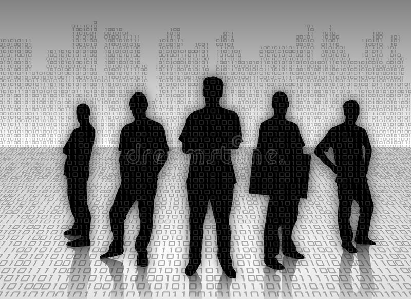 Silhouetted businessmen. An illustrated view of several silhouetted businessmen against a city skyline background stock illustration