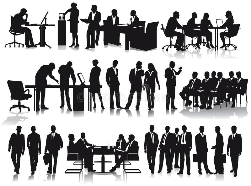 Silhouetted businesspeople. Set of silhouetted businesspeople working in office in meetings and working on desks stock illustration