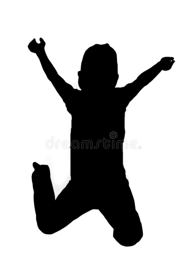 Silhouetted child jumping. Black silhouetted child jumping midair, white studio background royalty free illustration