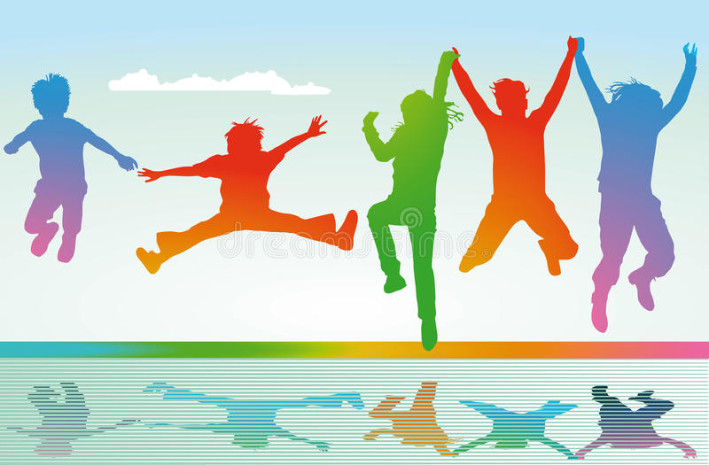 Silhouetted children jumping. Illustration of colorful silhouetted children jumping for joy stock illustration