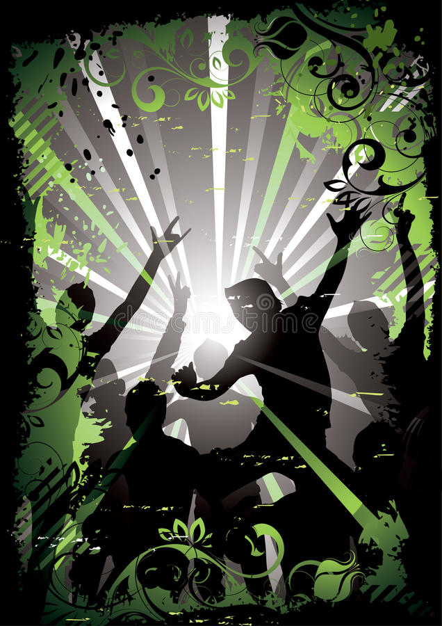 Silhouetted clubbers dancing stock illustration