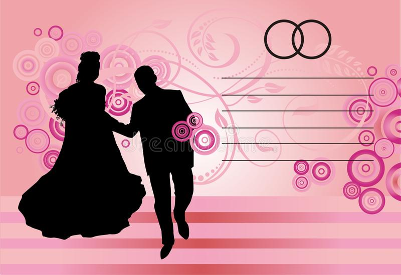 Silhouetted couple on pink. A silhouetted couple in formal dress on a pinkish background with abstract designs. Suitable for a formal invitation card royalty free illustration