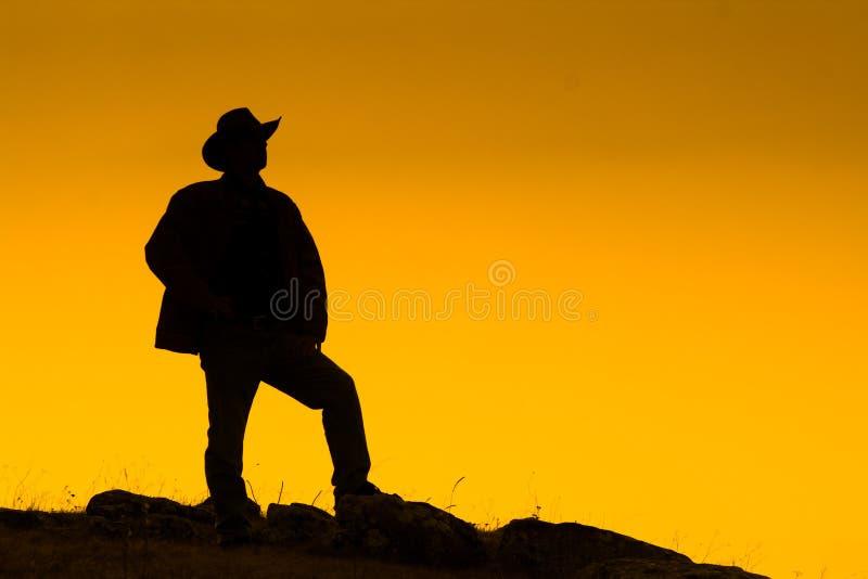 silhouetted cowboyskymning fotografering för bildbyråer