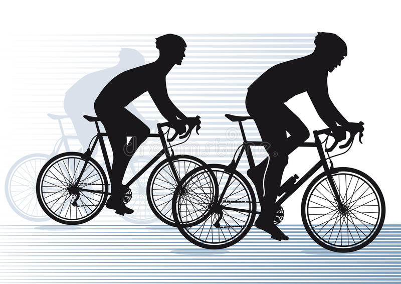 Silhouetted cyclists. Illustration of two silhouetted cyclists racing vector illustration