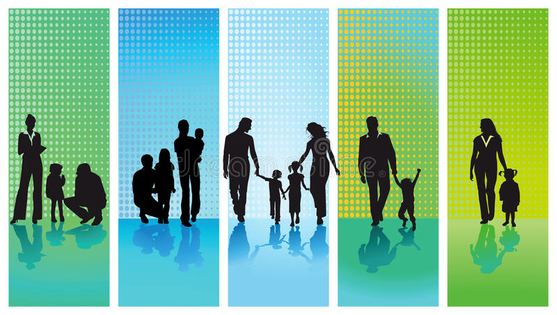 Silhouetted families. Set of five silhouetted families with an abstract modern background vector illustration