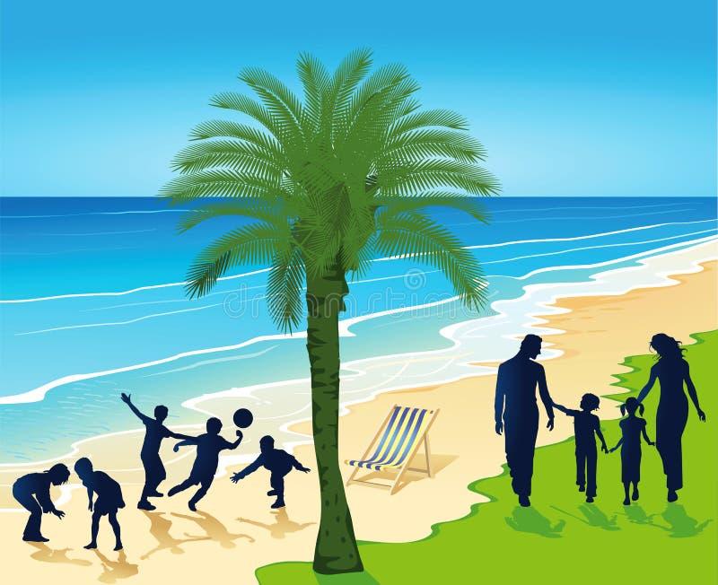 Silhouetted folk på den tropiska stranden royaltyfri illustrationer