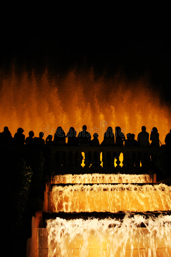 Silhouetted Fountain With Dancing Water Stock Image