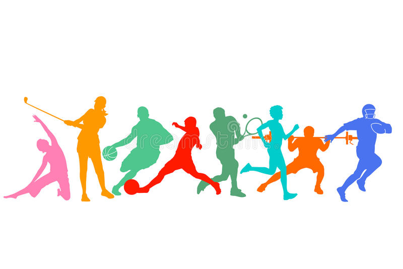 Silhouetted group of sports people. Silhouetted group of different sports people and athletes, white background royalty free illustration