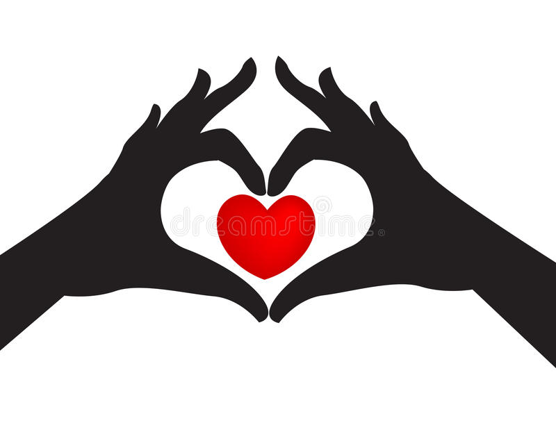Silhouetted hands and love heart. Pair of silhouetted hands around a red love heart on a white studio background stock illustration