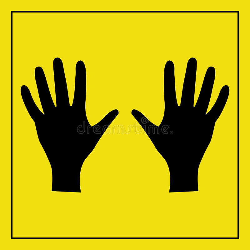 Silhouetted hands signs. Silhouetted pair of hands on a yellow sign stock illustration
