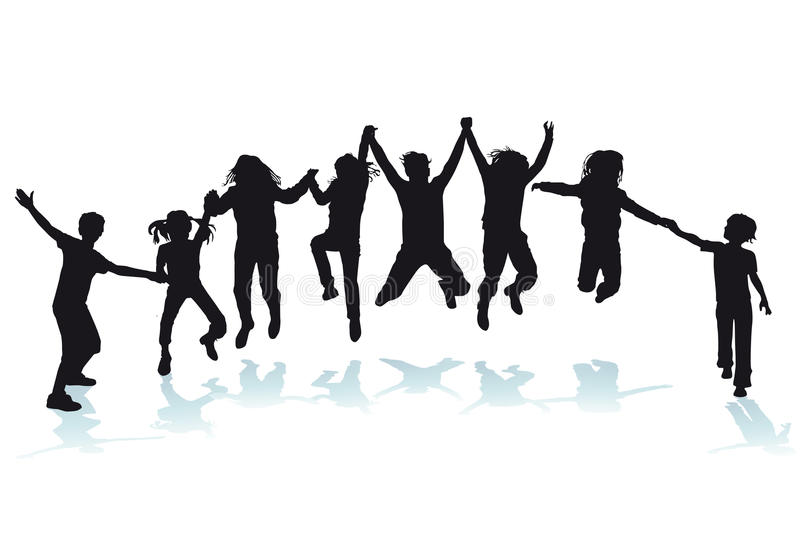 Silhouetted happy children. Holding hands and jumping in air, white background stock illustration