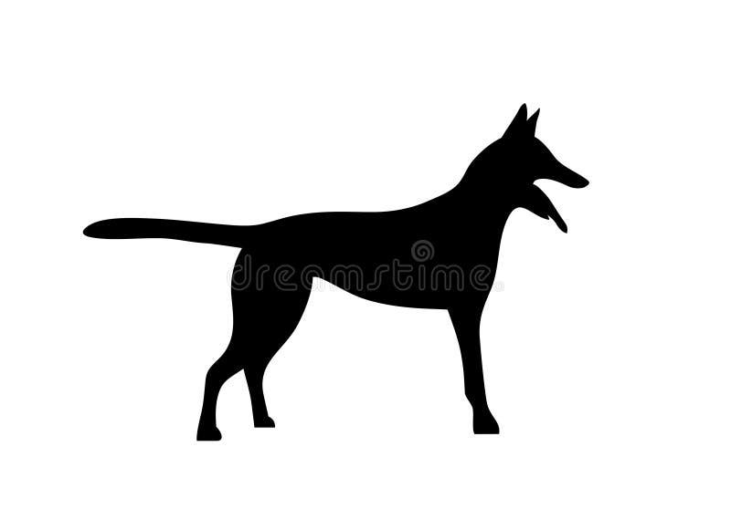 Silhouetted hundkapplöpning belgisk hundmalinoisherde symbol stock illustrationer