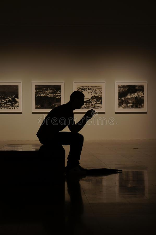 Silhouetted Man In Art Museum Free Public Domain Cc0 Image