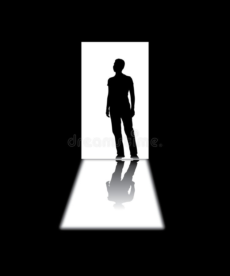 Silhouetted man in a doorway. With light in the background royalty free illustration