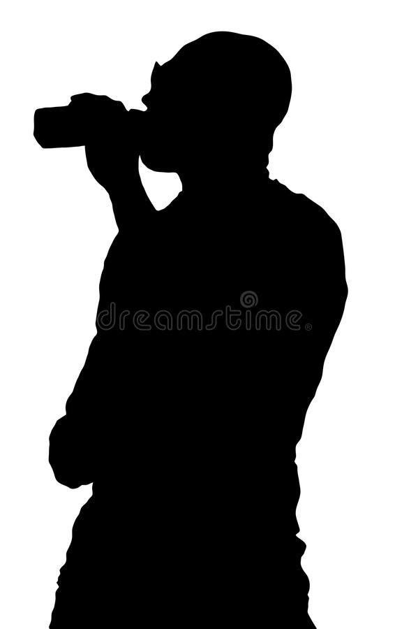 Silhouetted man drinking from bottle. Illustration of silhouetted man drinking from bottle, viewed from side, white background royalty free illustration