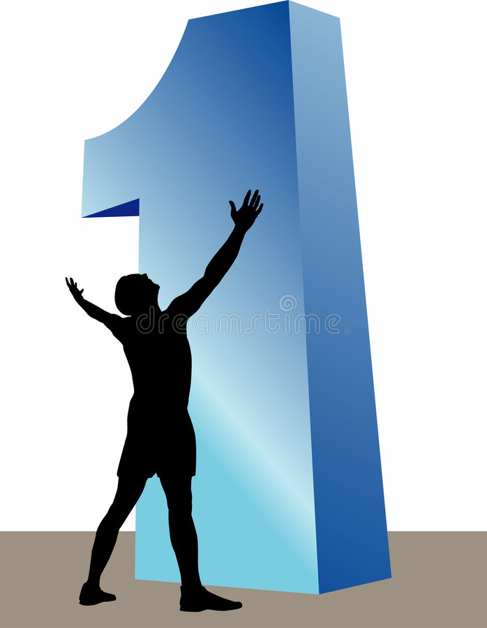 Silhouetted man and number one. An illustration of a silhouetted man with arms outstretched, looking up at a very large, blue, number one vector illustration