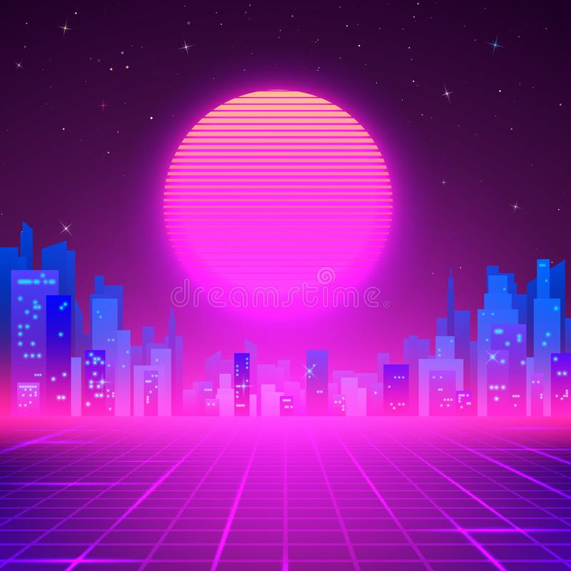 Silhouetted Night City on Skyline. 80s Retro Sci-Fi Background. Cyberpunk or Futuristic Design in 80s Style. Vector illustration.  royalty free illustration