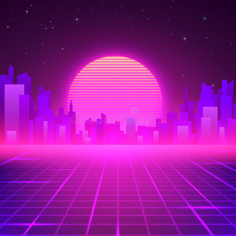 Silhouetted Night City on Skyline. 80s Retro Sci-Fi Background. Futuristic Design in 80s Style. Vector illustration.  vector illustration