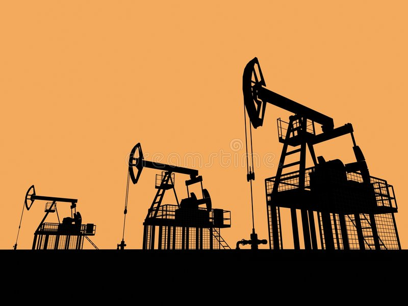 Silhouetted oil wells. An illustrated view of three oil well pumps silhouetted against a golden sunset sky vector illustration
