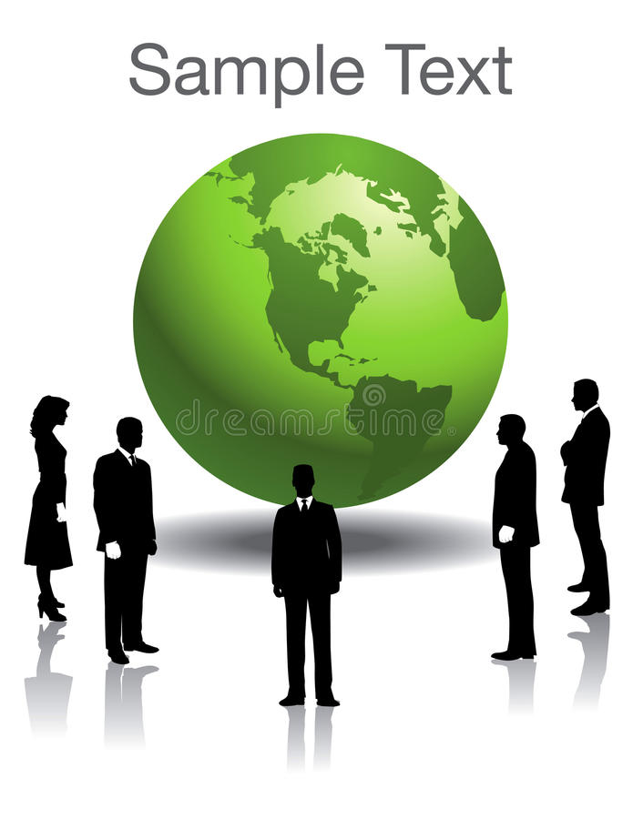 Silhouetted people and globe. A three-dimensional illustration of silhouetted business people standing around a large, green globe stock illustration