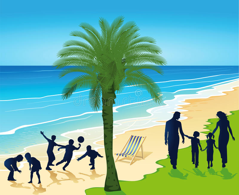 Download Silhouetted People On Tropical Beach Stock Vector