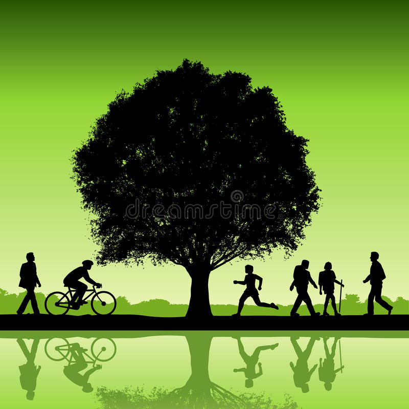Silhouetted people under tree. Vector illustration of active people silhouetted under tree reflecting on water in foreground stock illustration