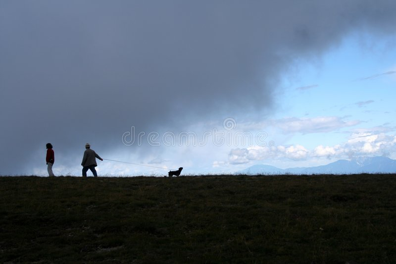 Silhouetted people walking dog royalty free stock images