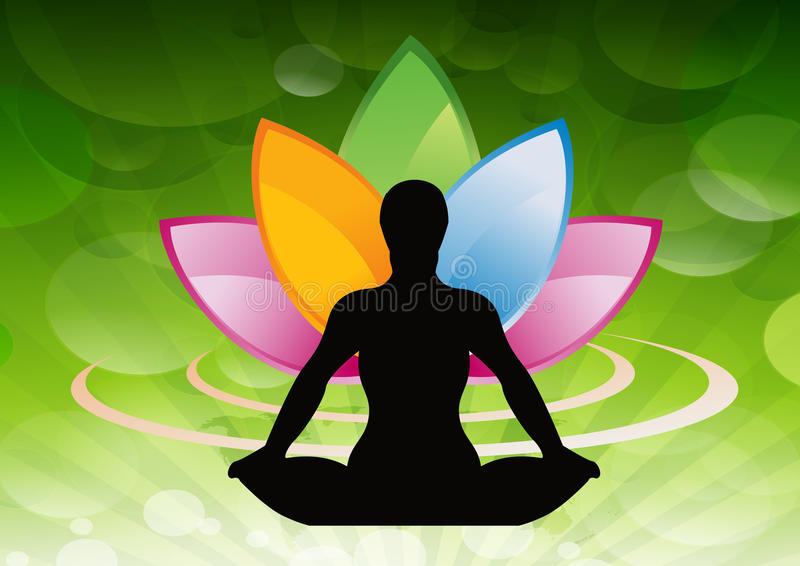 Silhouetted person meditating. With a colorful abstract lotus flower in the background stock illustration