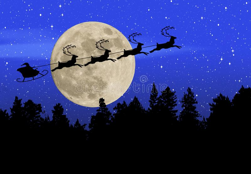 Silhouetted Santa guides his sleigh across the face of a full moon in a wi. Here is an illustration with a holiday Christmas theme. Silhouetted Santa guides his stock illustration