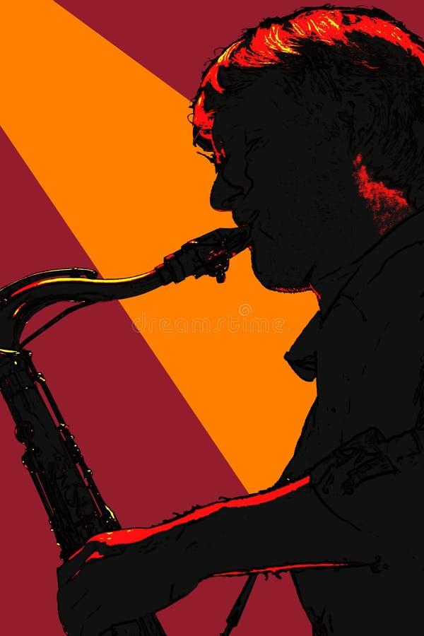 Silhouetted saxofonspelare vektor illustrationer