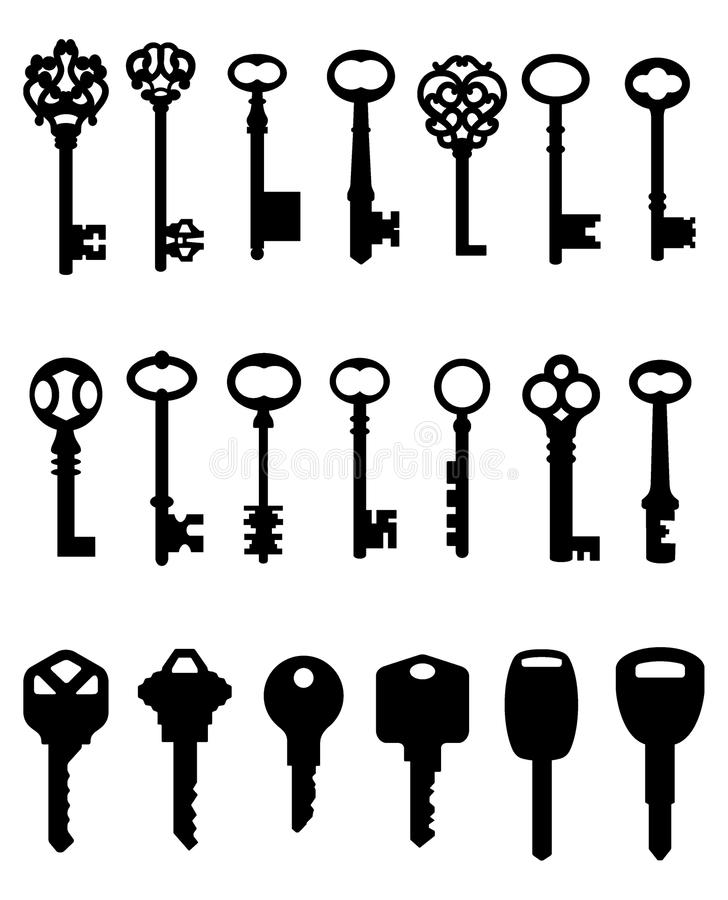 Silhouetted set of keys royalty free illustration