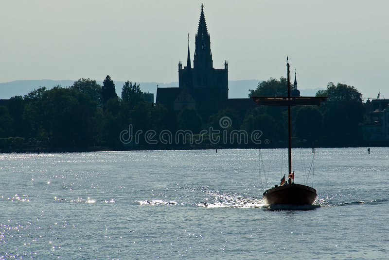 Download Silhouetted Shoreline And Boat Stock Image - Image: 5324857