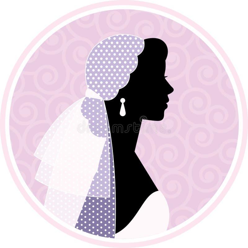 Silhouetted stående av en kvinna i profil i bröllopsklänning och vektor illustrationer