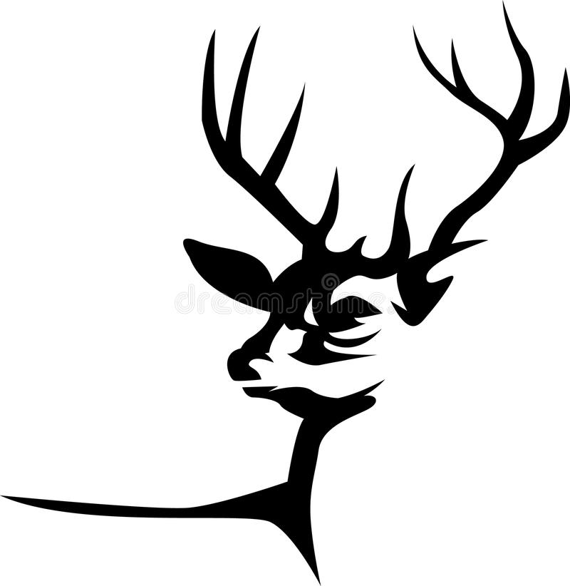 Silhouetted stag head. Silhouetted isolated illustrated abstract stag head royalty free illustration