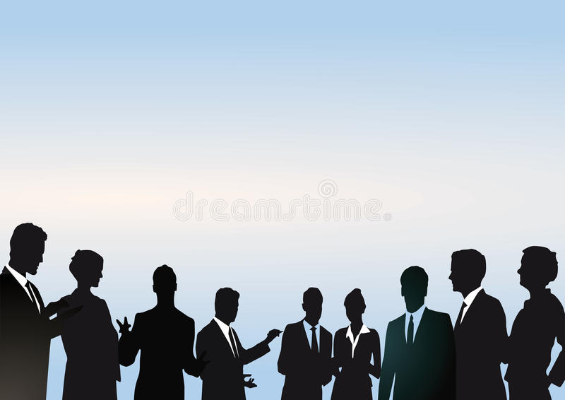 Silhouetted team of businesspeople. With blue background and copy space vector illustration