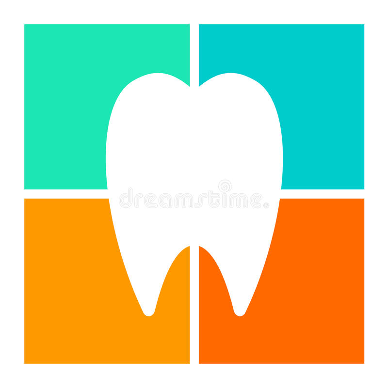 Silhouetted tooth icon. White silhouetted tooth icon on different colored background royalty free illustration