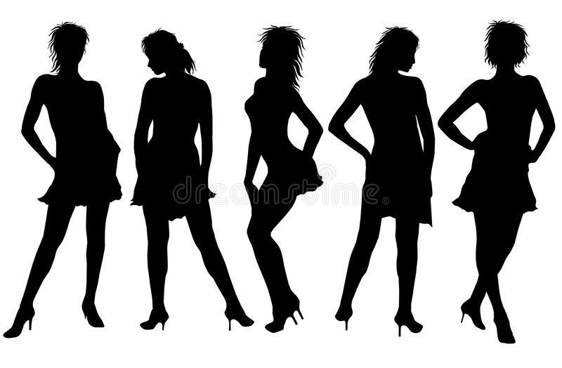 Silhouetted Women. An illustrated background with five silhouetted women in different poses, isolated on a white background stock illustration