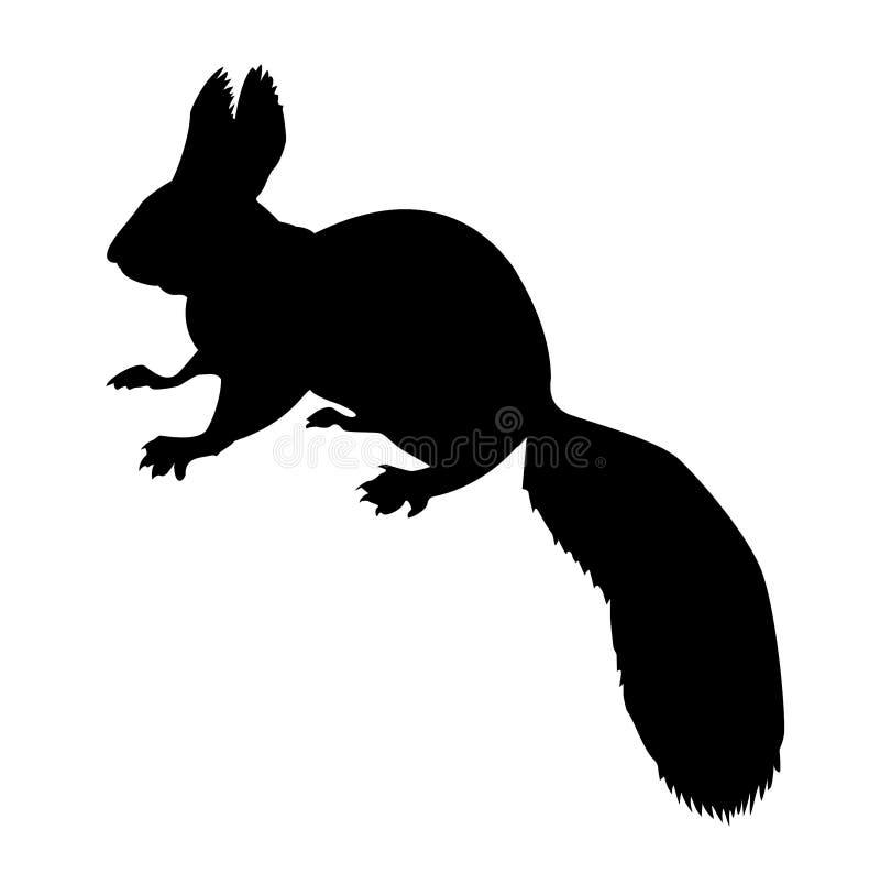 silhouetteekorre vektor illustrationer