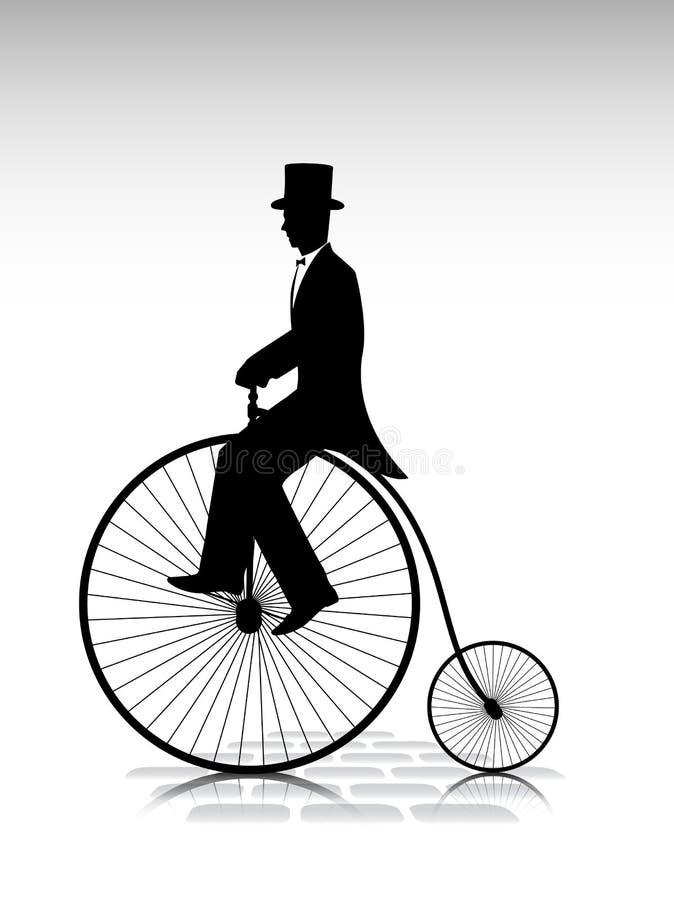 Silhouetteer de heer de fietser door oude fiets royalty-vrije illustratie