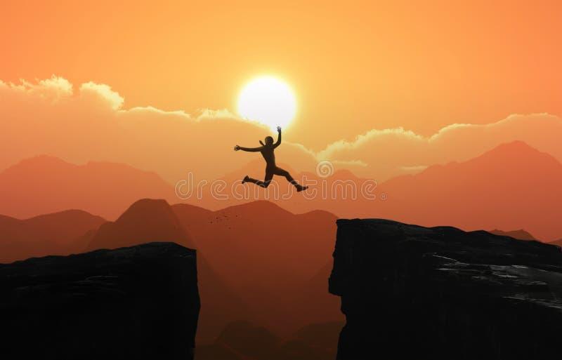 Silhouetteer een zakenman springt concept - Foto vector illustratie