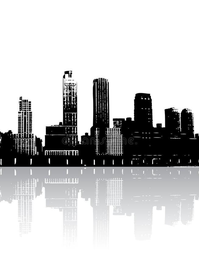 Silhouetteer gebouwen vector illustratie