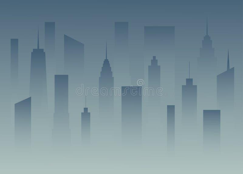 Silhouetteert een grote stad in de schemer Megapolis in de mist Gebouwen van de stad in dark Het vallen van de avondstad illus royalty-vrije illustratie