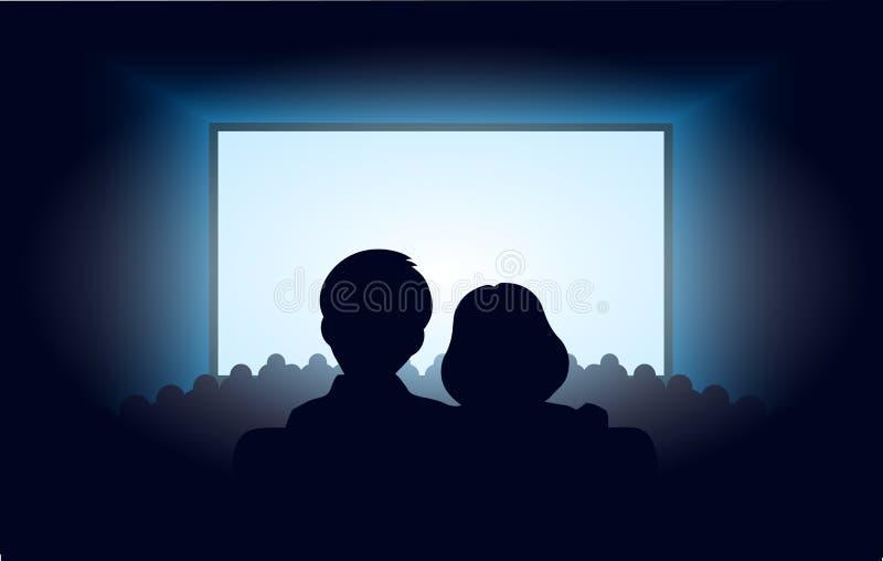 Silhouetteert een houdend van paar bij bioscoop stock illustratie
