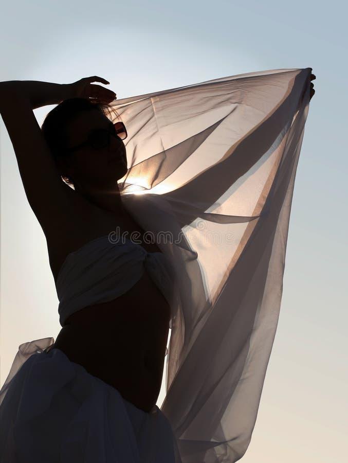 silhouettekvinna royaltyfria foton