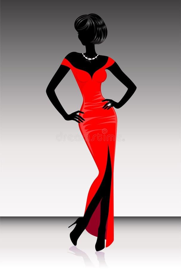 silhouettekvinna stock illustrationer